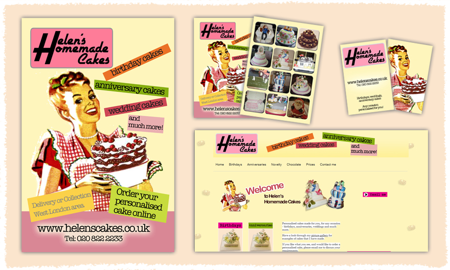 Portfolio of sabrina jillah brief was to create a poster postcard business card and website i chose my mums vintage 50s housewife inspired cake business reheart Choice Image